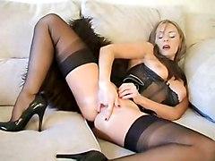 stockings milf fingering masturbating bigtits solo mom housewife playing beauty masturbates