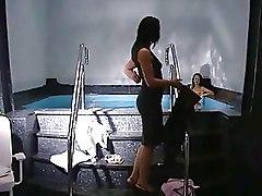 Lesbian Pool brumette milfs