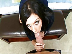 Black-haired Caucasian Couple Cum Shot Piercings Shaved Uniform Vaginal Sex