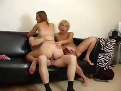 Mother teaches daughter to fuck and suck