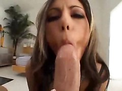 brunette blowjob cumshot facial sex POV stockings hot