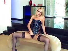 blonde corset latex stockings sheer fishnets panties masturbation legs heels pumps panty fingering