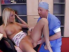 Old Doctor Fucks A Hot Blonde In Her Asshole