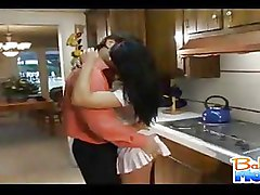 Sexy Brunette Woman Fucks Guy In The Kitchen