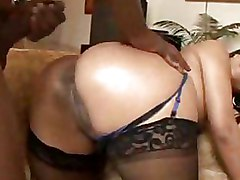 Ebony Lingerie Mature cock riding panty stocking