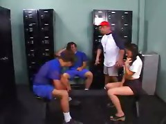Slut Schoolgirl Takes On Football Players And Coach!