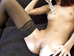 Masturbation Brunette Caucasian Masturbation Shaved Skinny Solo Girl Stockings Toys Vaginal Masturbation Leanna Sweet Yasmine