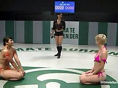 wrestling lezdom strapon lesbian
