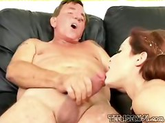cumshot facial blowjob doggystyle titlicking pussylicking pussyfucking pigtail redhair olderman