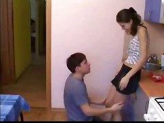 Teen Boned Bent Over The Kitchen Table
