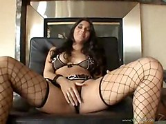 latina brunette tattoo fishnet oneonone