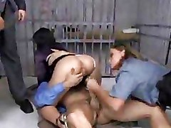 Foursome Group Sex Prison brunette cock riding hardcore orgy