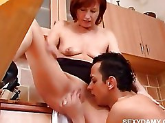 Doggy Style Kitchen Moms and Boys Pussy Licking