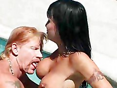 Outdoor Pool big tits hot brunette shaved pussy