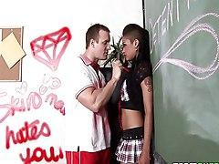 Ebony Schoolgirl Is Bent Over And Punished
