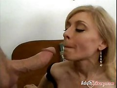 anal stockings cumshot blonde milf mature swallows