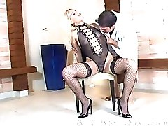 Blondes Cum Swallowing Fishnet High Heels Shemale Tattoo