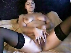 Amateur Amateur Black-haired Caucasian Hairy Masturbation Solo Girl Stockings 