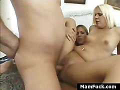 Mom And Daughter Fucked On Top Of Each Other In Threesome