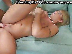 Big Tits Cuckold blonde busty riding wife