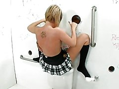 Group Blonde Blonde Blowjob Caucasian Glory Hole Masturbation Threesome Toilet Toys Vaginal Masturbation Vaginal Sex