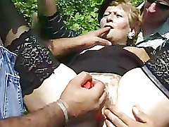 Gang Bang Granny bukkake granny suck outdoor fucking