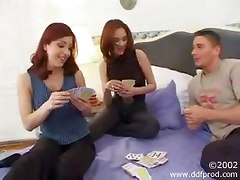 threesome redhead cum suck boobs