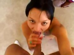 blowjob brunette tattoo tight pornstar natural ass striptease deepthroat pov handjob cumshot facial teasing face fuck