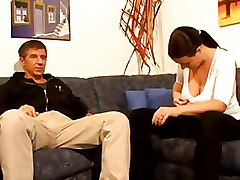 Hairy Mature brunette sucks