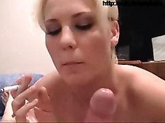 smoking cigarette smoke smoker blonde young babe blowjob sucking fetish cum cumshot cumming young handjob