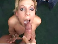 blowjob cum cumshot cuminmouth swallow swallows suck cock mouth blond brunette