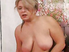 Granny Moms and Teens blonde older riding stockings