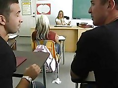 Blondes Classroom Masturbation glasses stocking