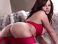 Pornstars Softcore fingering hot brunette red lingerie