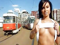 Public Black-haired Caucasian Public Solo Girl