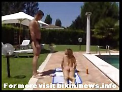 pool outdoor kissing teasing bikini big tits tight oil massage ass rubbing hardcore riding wet blowjob cumshot facial swallow reality brunette