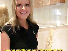 Bathroom Solo Girls blonde softcore
