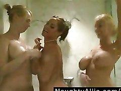 Big Tits Lesbian Shower Threesome