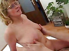 Glasses Mature hairy riding cock