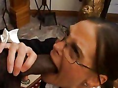 Big Cock Interracial brunette glasses milf blowjob