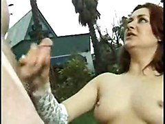 cumshot handjob trimmed redhead pale smalltits gloves outdoors