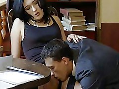 Non Nude Office sexy brunette stockings