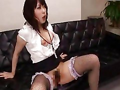 Asian Hairy fishnet office sex