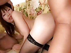 Asian Double Penetration cumshots fishnet lingerie