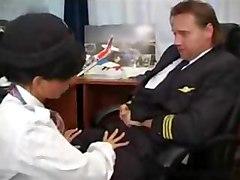brunette air stewardess pilot sex blowjob oralsex cumshot facial anal dildo toys