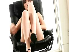 sasha grey masturbating fingering pussy solo heels high chair hot babe brunette