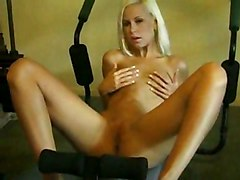 Blonde Blonde Caucasian Gym Shaved Solo Girl Striptease