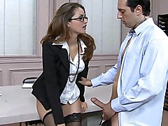 office  at work  stockings  black stockings  in clothes  cute  babe  secretary  office girl  hardcore  long hair  brunette  hot  white  desk  table  business clothes  glasses  stylish  fuck  fucking  couple  closeup  penetration Allie Haze   Mark Zane