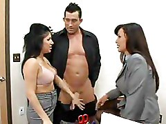Office Threesome brunettes busty ffm milfs