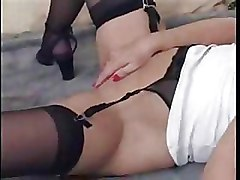Moms and Boys Stockings brunette hardcore